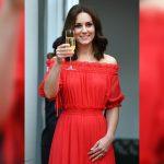 Duchess Kate Middleton turns heads in an off-shoulder red Alexander McQueen