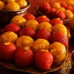 Make your nuptial ceremonies sweeter with this vibrant laddu platter from Premium Sweets